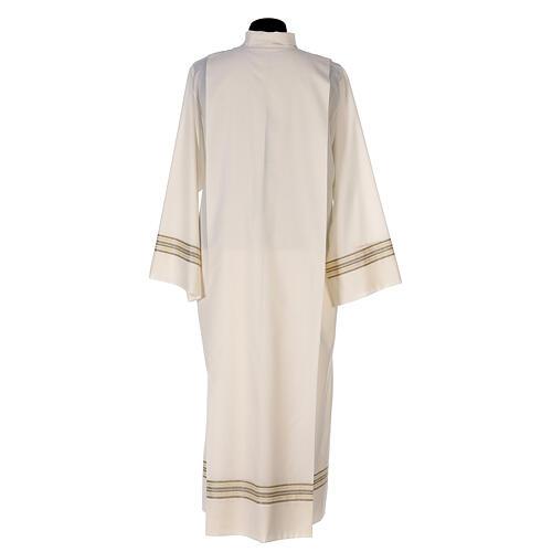 Alba 55% poliéster 45% lana rayas oro marfil 7