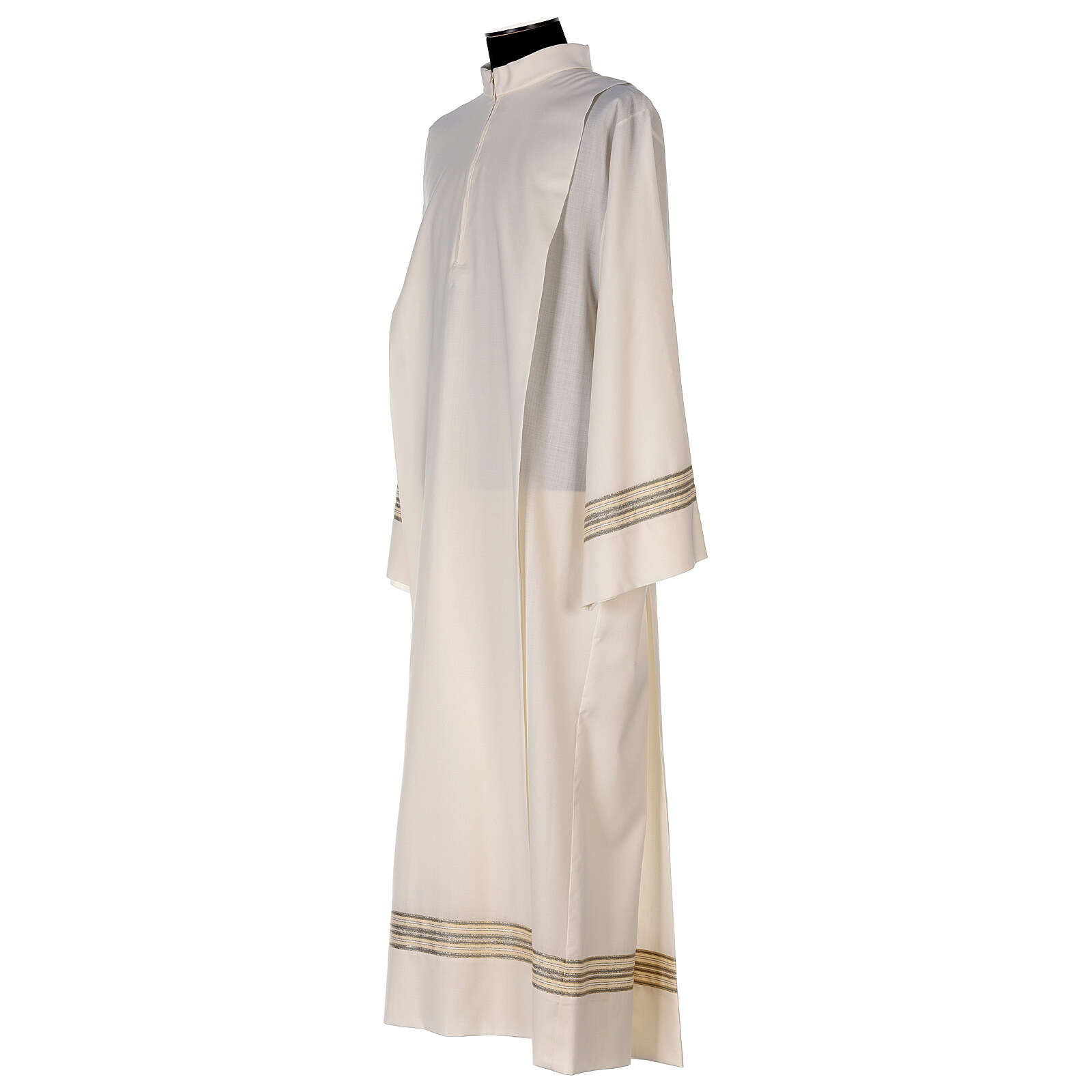 Aube 55% polyester 45% laine rayures or ivoire 4