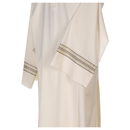 Aube 55% polyester 45% laine rayures or ivoire 2