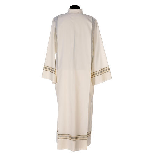 Aube 55% polyester 45% laine rayures or ivoire 7