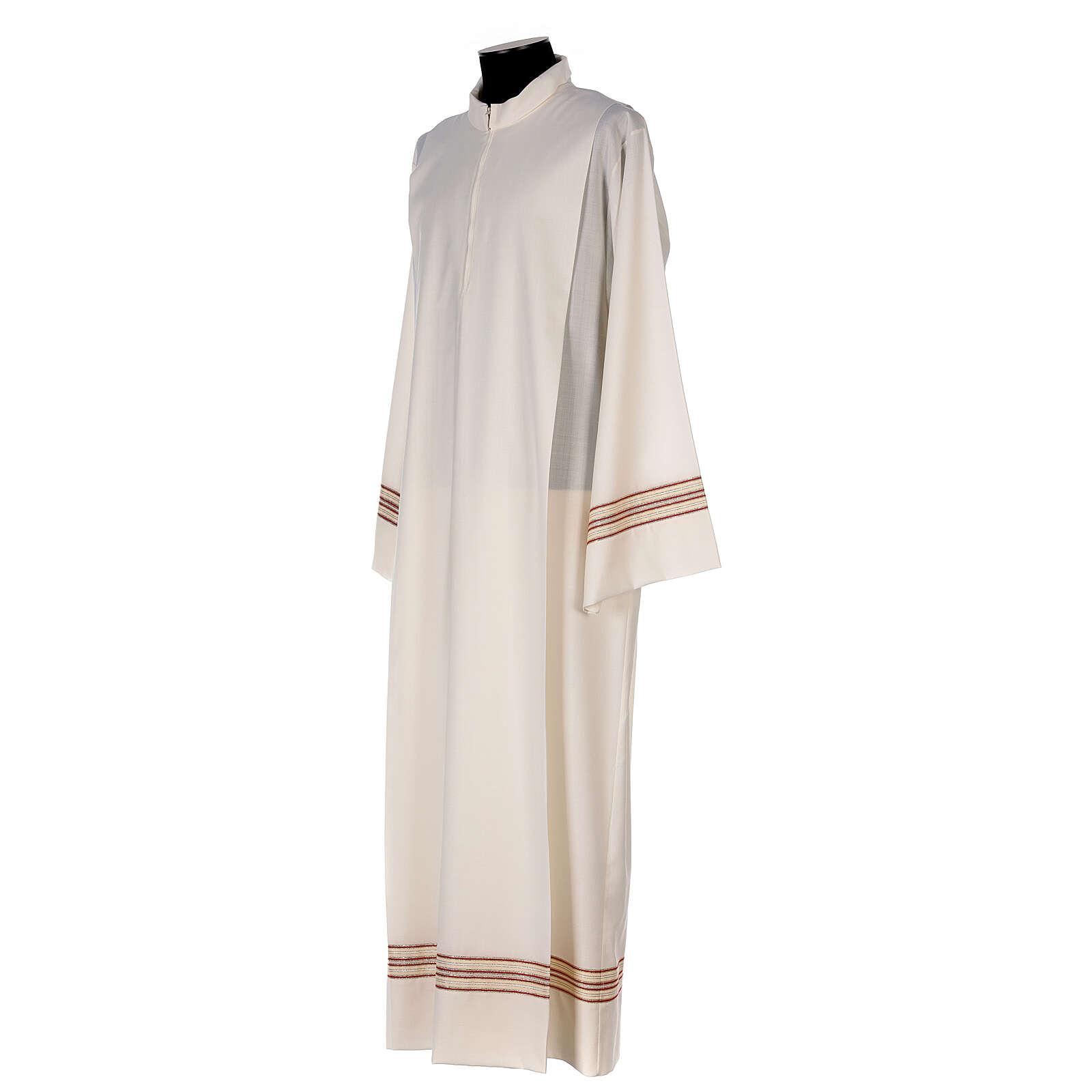 Alba 55% poliéster 45% lana rayas oro rojas 4