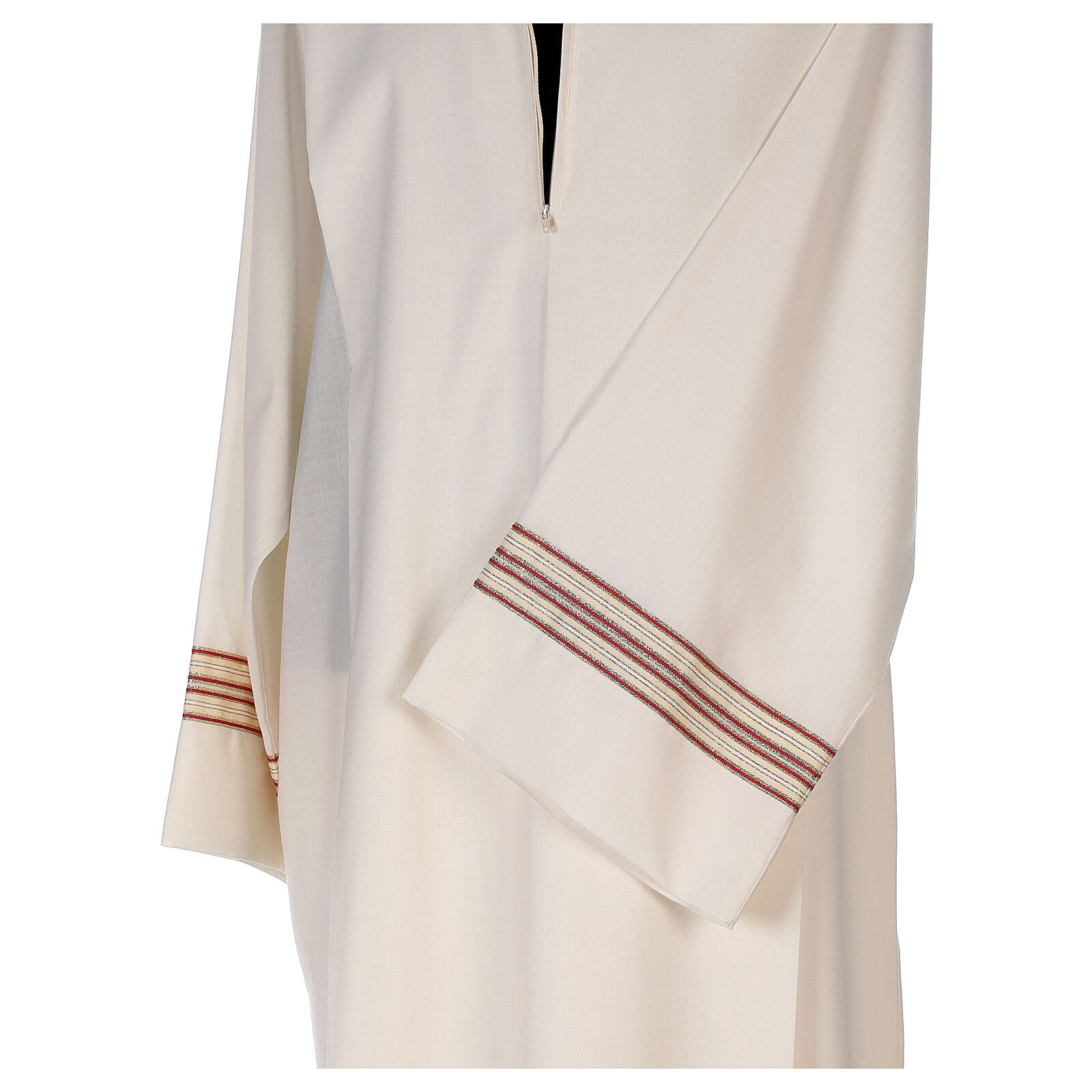Priest alb 55% polyester 45% wool striped gold red 4