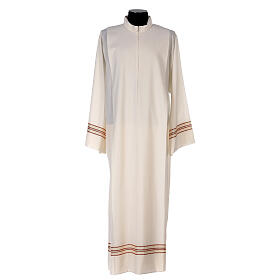 Priest alb 55% polyester 45% wool striped gold red s1
