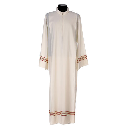 Priest alb 55% polyester 45% wool striped gold red 1