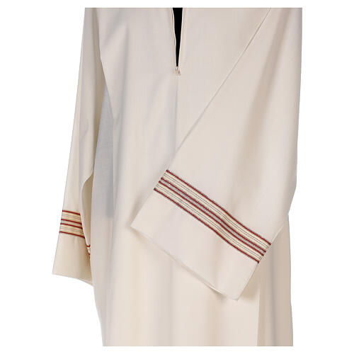 Priest alb 55% polyester 45% wool striped gold red 2