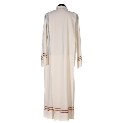 Priest alb 55% polyester 45% wool striped gold red 8