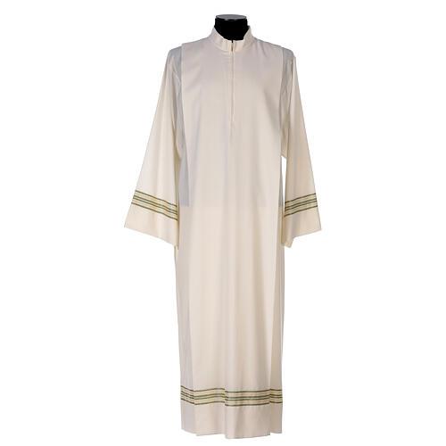 Alba 55% poliéster 45% lana rayas oro verdes 1