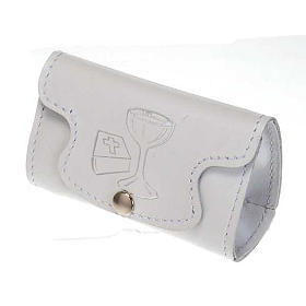 Rosary case in white leather, first holy communion s1