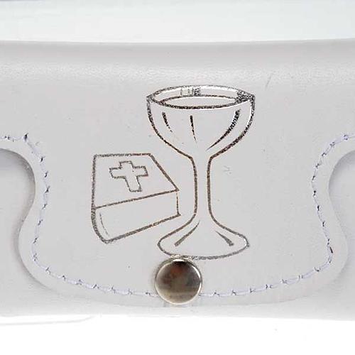 Etui à chapelet cuir blanc calice Bible communion 2