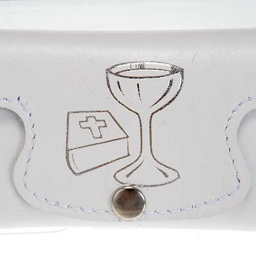 Rosary case in white leather, first holy communion 2