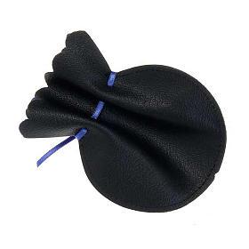 Portarosario pelle sacchetto nero croce oro s2