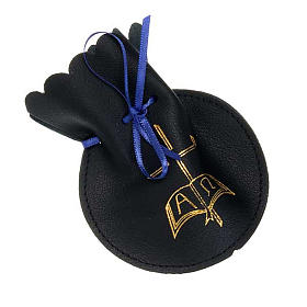 Golden cross rosary case in black leather s1
