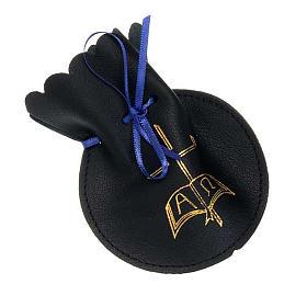 Porta rosario bolsita de piel cruz alfa omega s1