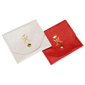 Rosary case in leather with automatic button, gold M s1