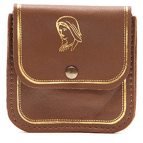 Rosary case in brown leather with image of Our Lady s1