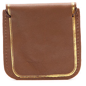 Rosary case in brown leather with image of Our Lady s2