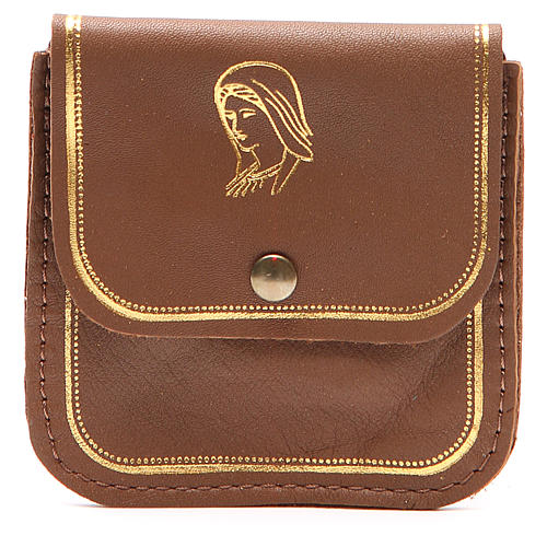 Rosary case in brown leather with image of Our Lady 1
