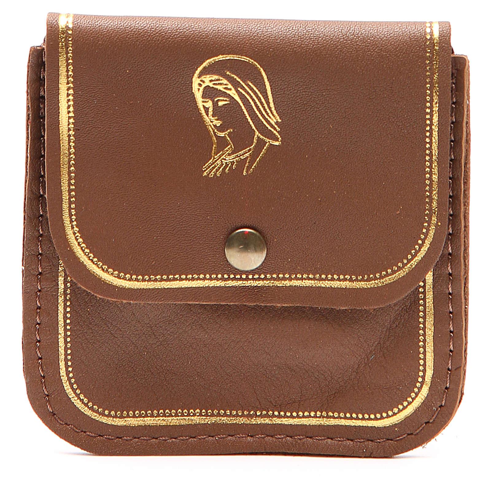 Étui chapelet cuir brun image Vierge 4