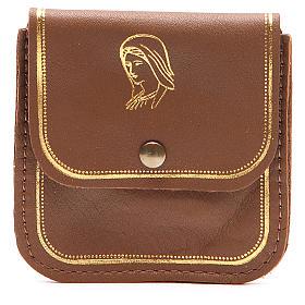 Étui chapelet cuir brun image Vierge s1