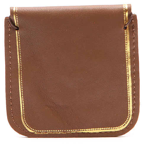 Rosary case in brown leather with image of Our Lady 2