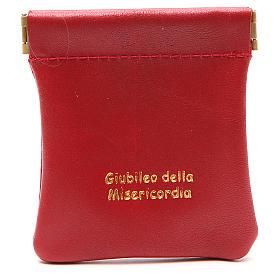 STOCK Portarosario de piel roja cierre clic-clac Jubileo s1