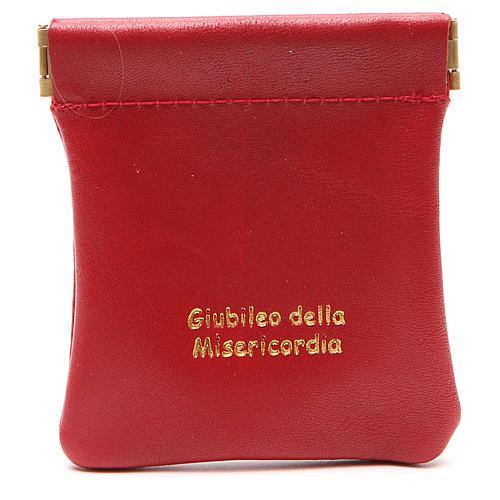 STOCK Portarosario de piel roja cierre clic-clac Jubileo 1