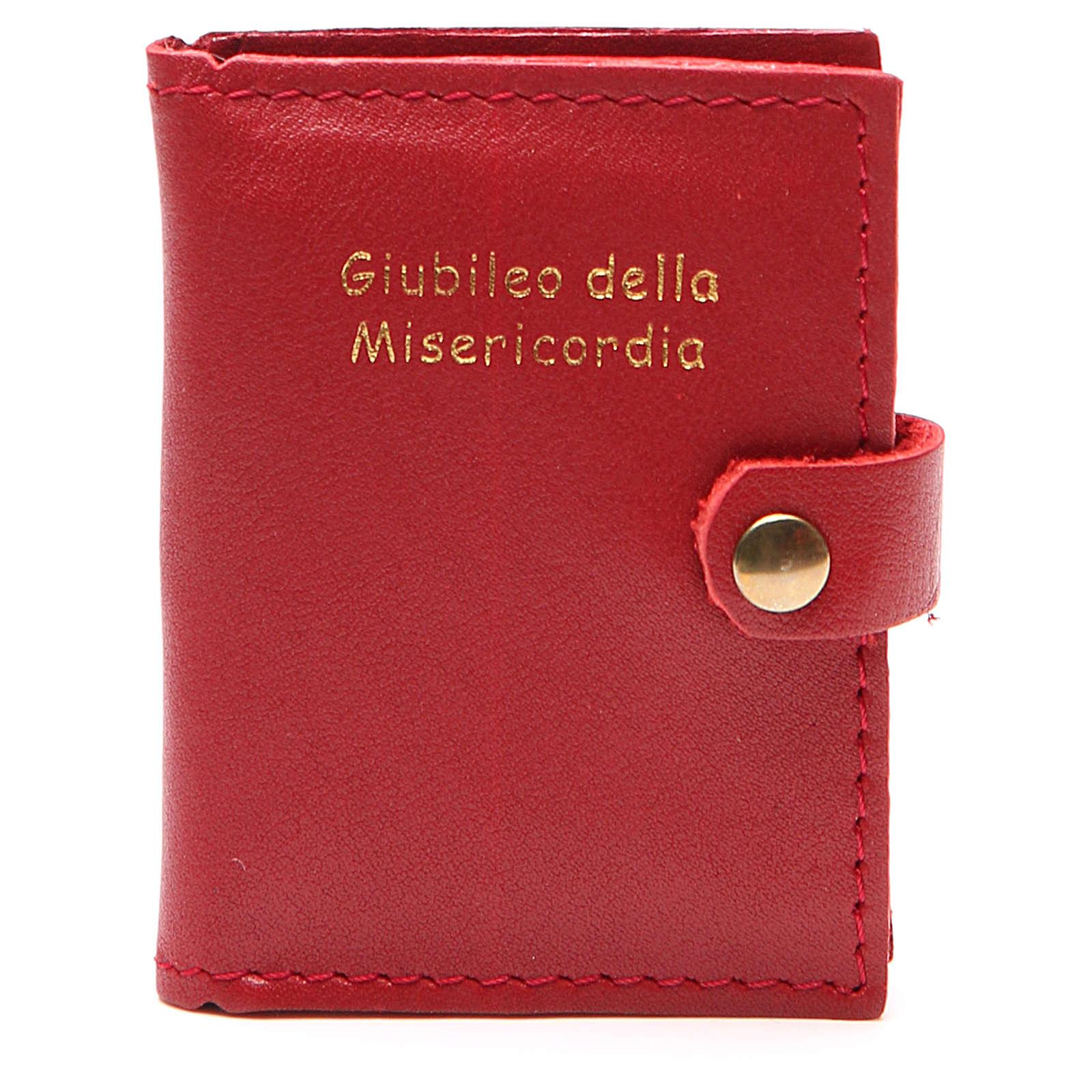 STOCK Portarosario bottone pelle rossa Giubileo 4