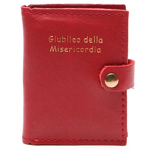 STOCK Portarosario bottone pelle rossa Giubileo 1