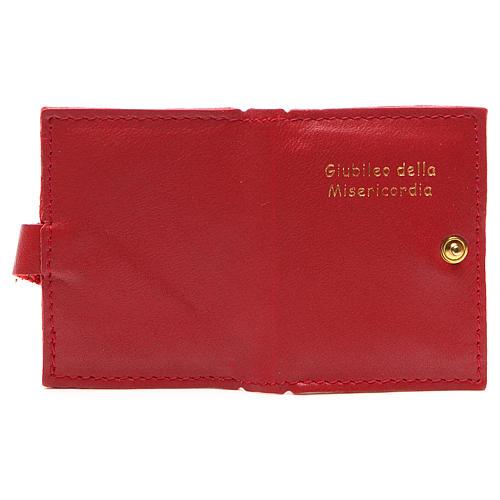 STOCK Portarosario bottone pelle rossa Giubileo 3