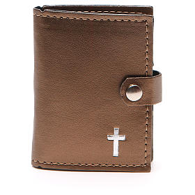 Rosary case in brown leather with cross s1