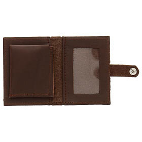 Rosary case in brown leather with cross s4