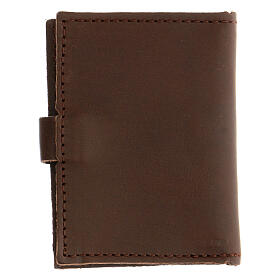 Rosary case in brown leather with cross s5