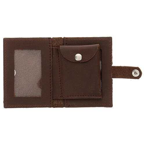 Rosary case in brown leather with cross 2