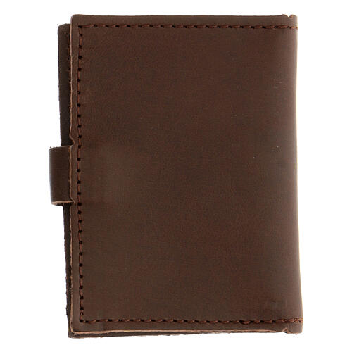 Rosary case in brown leather with cross 5
