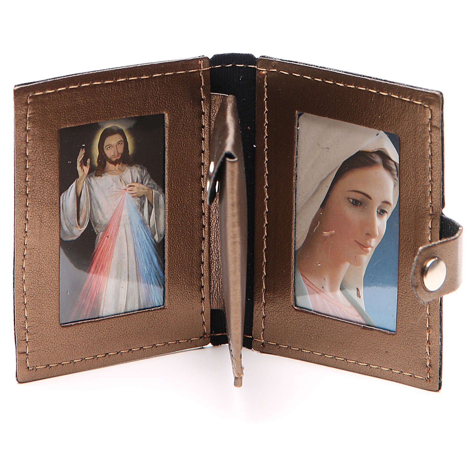 Rosary case in brown leather with cross 4