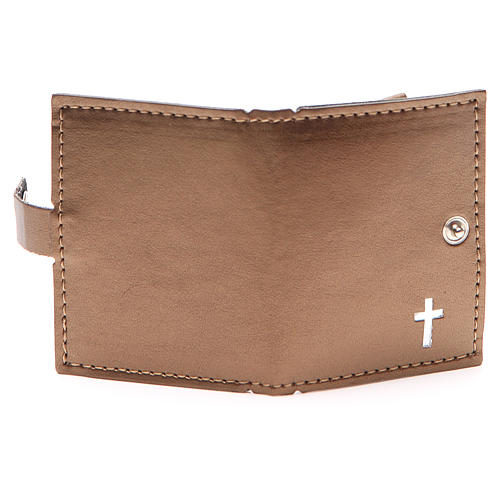 Rosary case in brown leather with cross 3