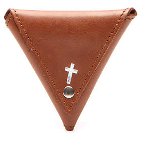 Rosary case, triangle shape in brown leather with cross s1