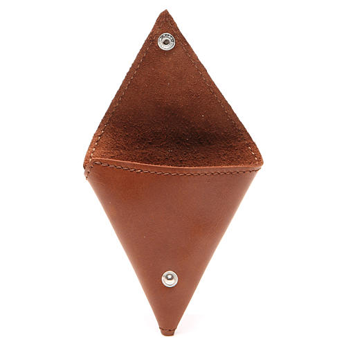 Rosary case, triangle shape in brown leather with cross 2
