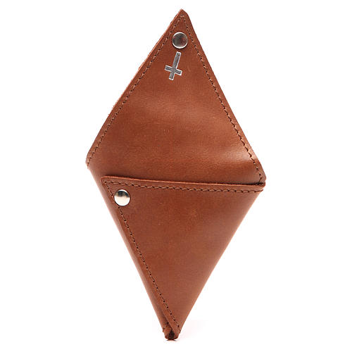 Rosary case, triangle shape in brown leather with cross 3