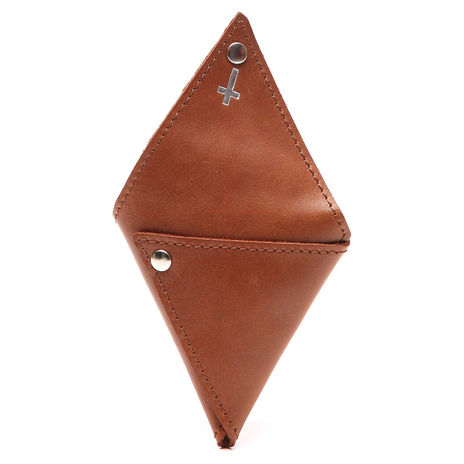 Estojo terço triângulo couro castanho cruz 4