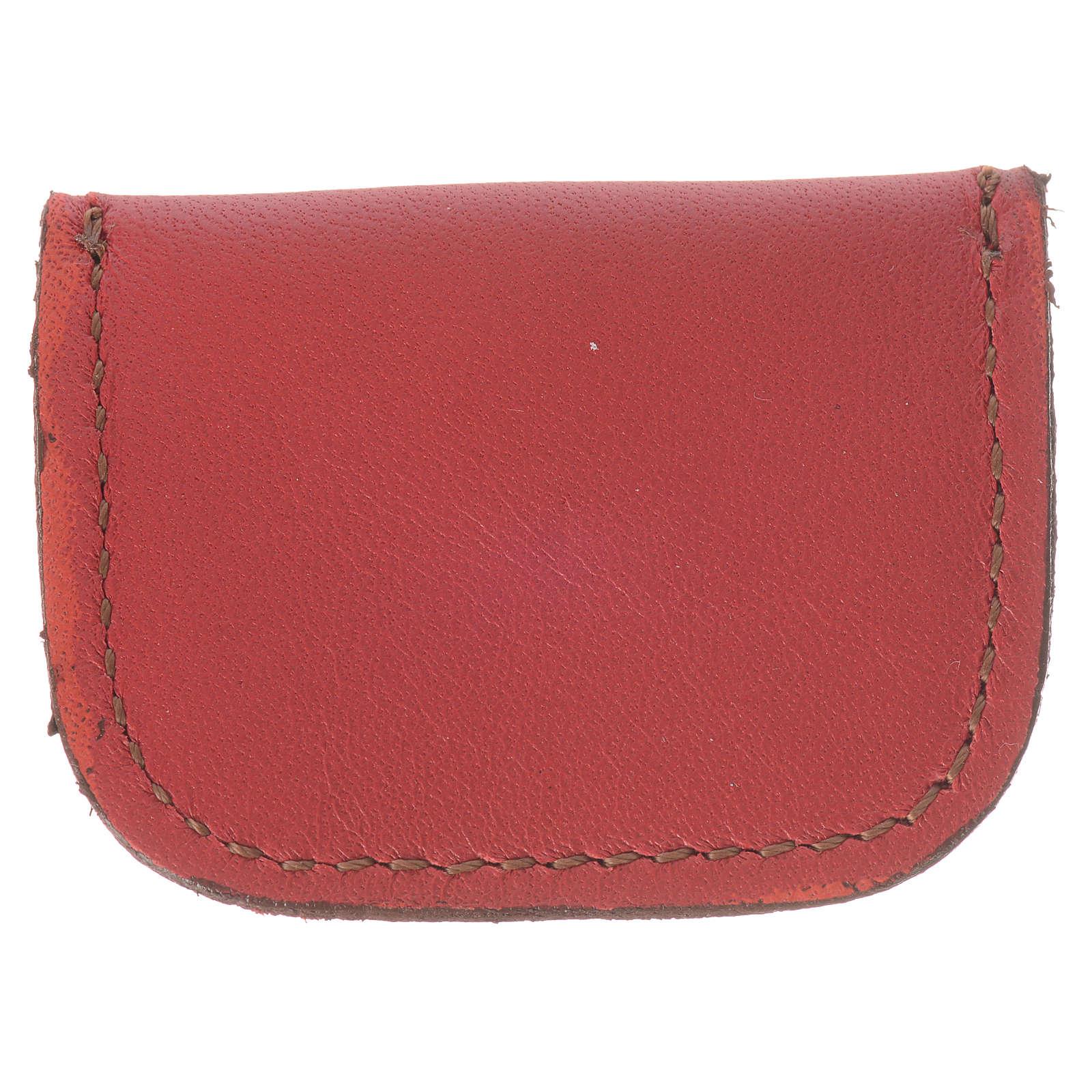 Portamedaglia pelle rossa Monaci di Bethlèem 4