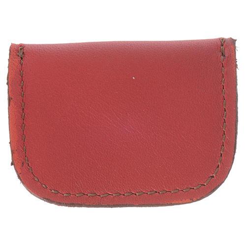 Portamedaglia pelle rossa Monaci di Bethlèem 2
