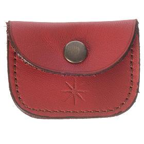 Porta Terços: Estojo medalha couro vermelho Monges de Belém
