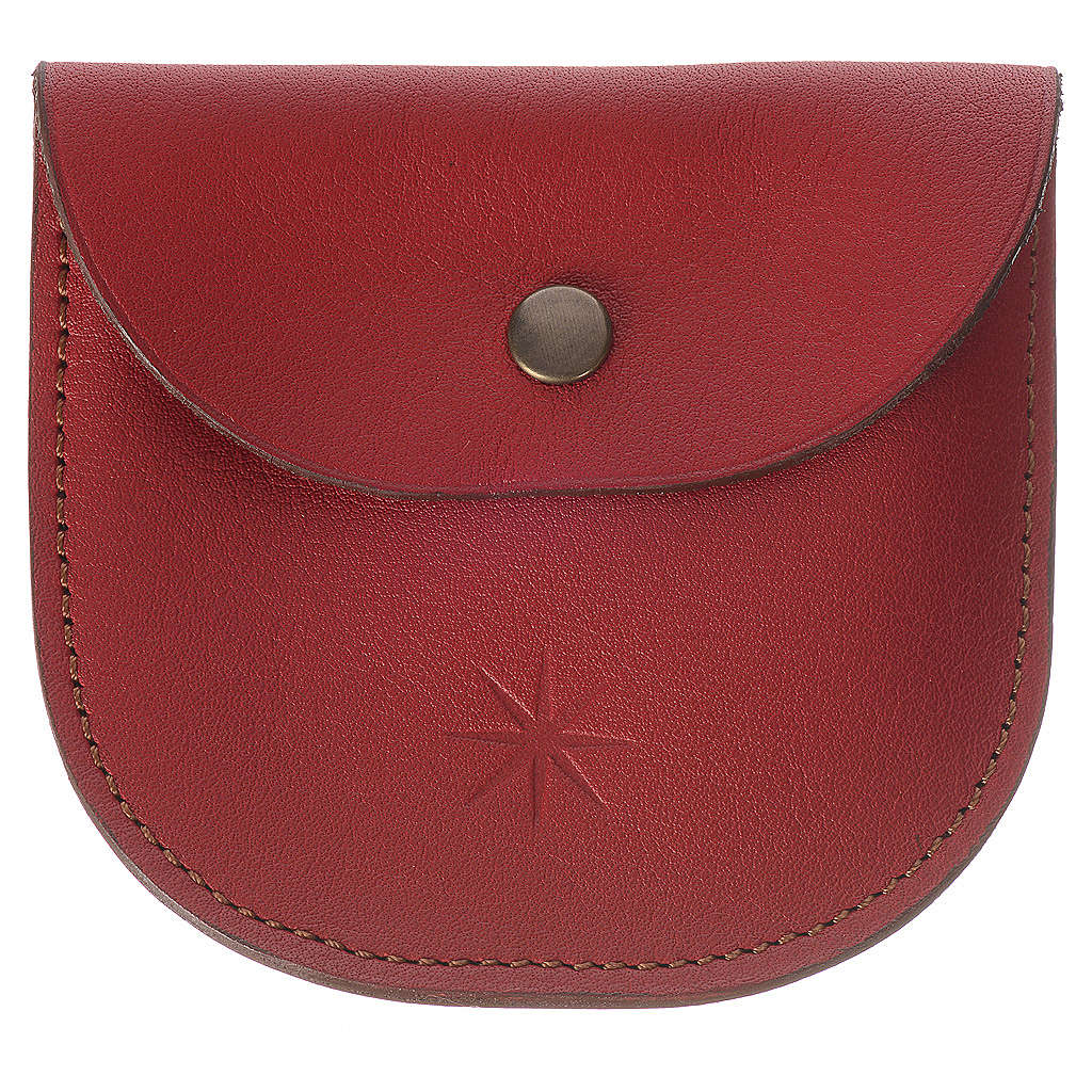 Rosary beads case in red leather, Monks of Bethlèem 4