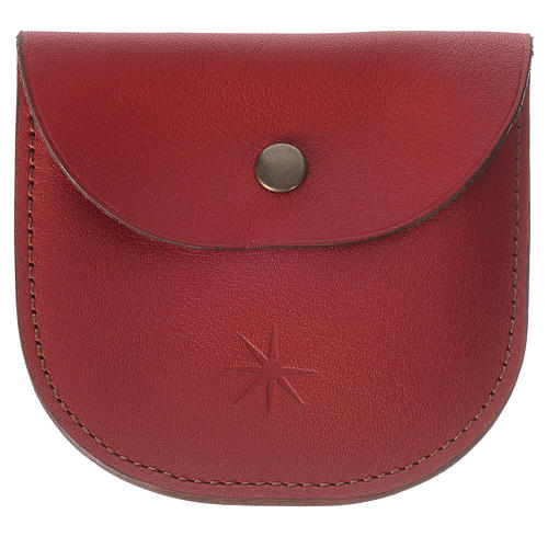 Rosary beads case in red leather, Monks of Bethlèem 1