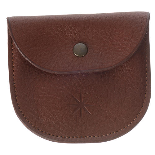 Rosary beads case in brown leather, Monks of Bethlèem 1