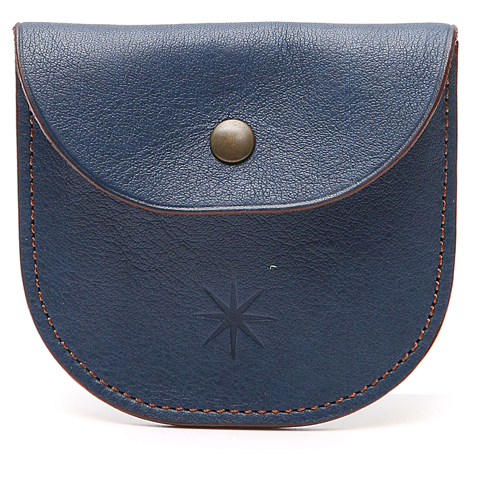 Rosary beads case in blue leather, Monks of Bethlèem 4