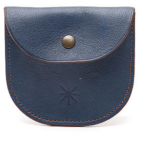 Rosary beads case in blue leather, Monks of Bethlèem s1