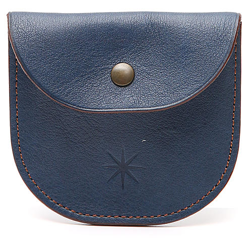 Rosary beads case in blue leather, Monks of Bethlèem 1