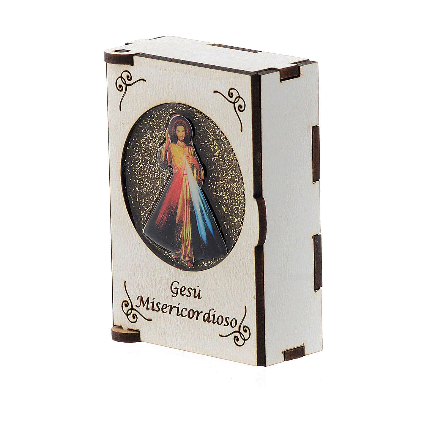 Rosary case in laser cut wood, Divine Mercy 4